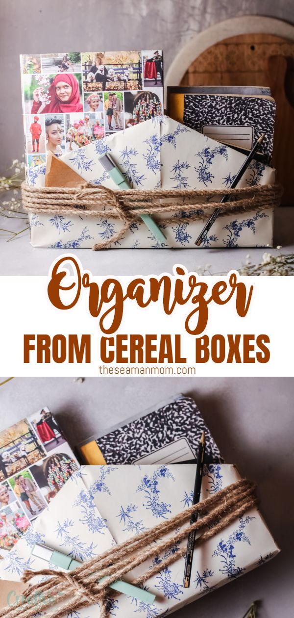 This cereal box organizer is a stylish way to get your desk (or cooking books!) in order. A super fun way to upcycle some old cereal boxes just by adding colorful paper and some twine or ribbon. via @petroneagu
