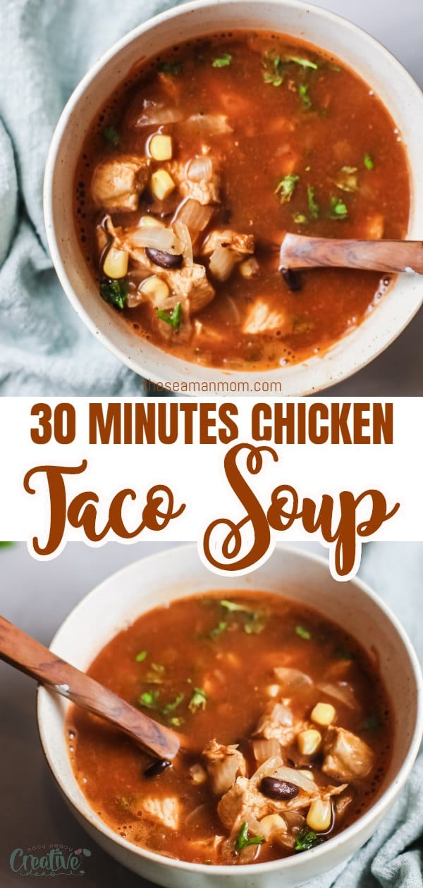 This chicken taco soup recipe is as quick, easy and comforting as a soup can get! Full of seasoned, spicy chicken, black beans, corn and sweet onion this quick and easy taco soup is the perfect soup to serve as is or with a big piece of cornbread on the side or even with chips. via @petroneagu