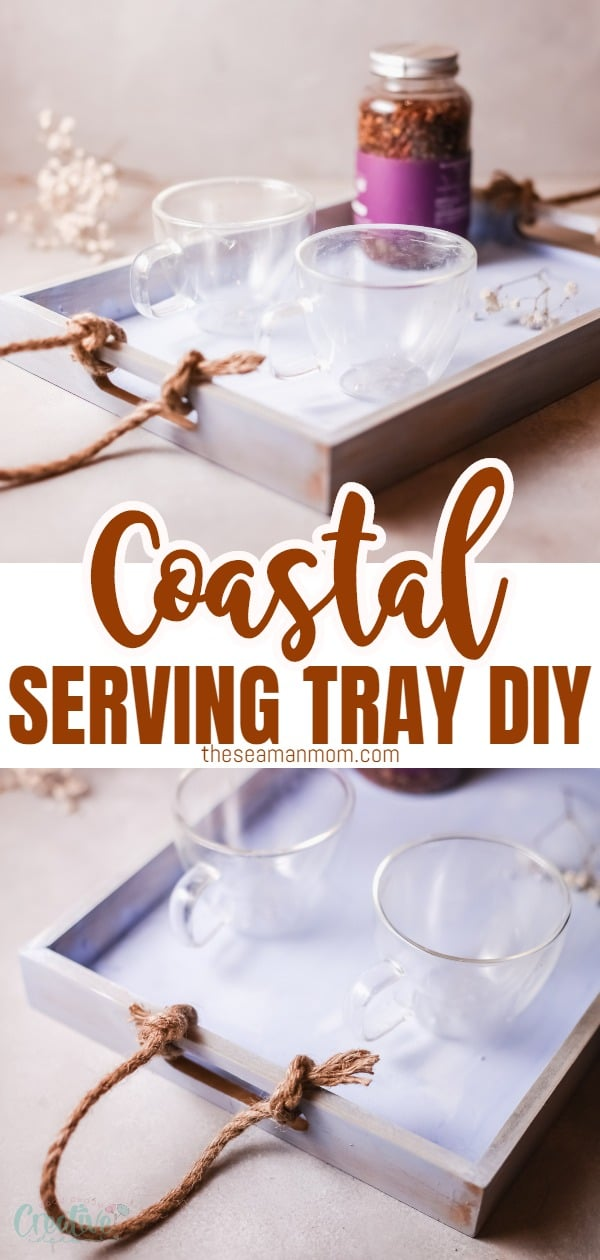 This coastal serving tray gives every space a beach, nautical vibe that's perfect for the Summer season! Super easy to make, it's the perfect craft project for any afternoon! via @petroneagu