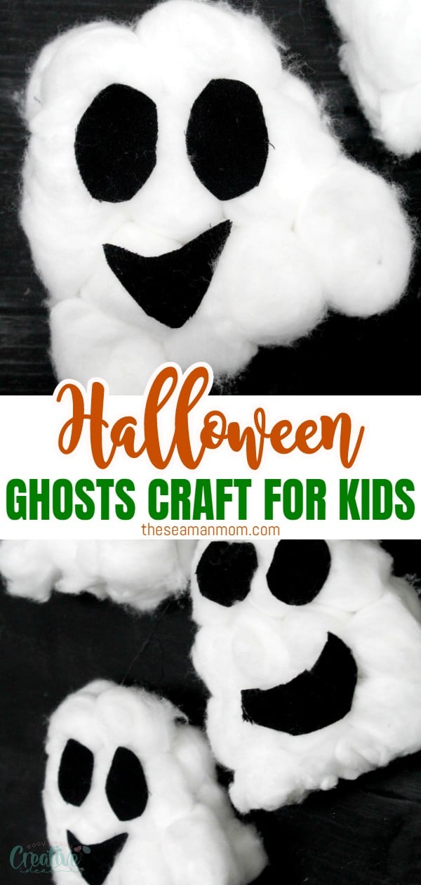 Quickly put together some spooky-cute ghosts with this crazy easy ghost craft! These Halloween ghosts are too adorable and the perfect Halloween decoration to make with the kiddos! They'll absolutely adore these Halloween ghosts crafts! via @petroneagu