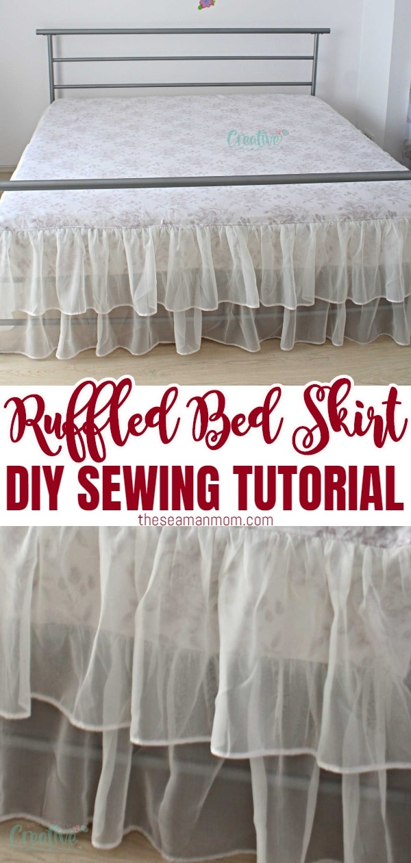 Ever wondered how to make a bed skirt yourself? With this DIY bed skirt tutorial,sewing a bed skirt has never been easier and more enjoyable! And the end result is a practical linen bed skirt with sheer ruffles, loaded with tons of cuteness! via @petroneagu