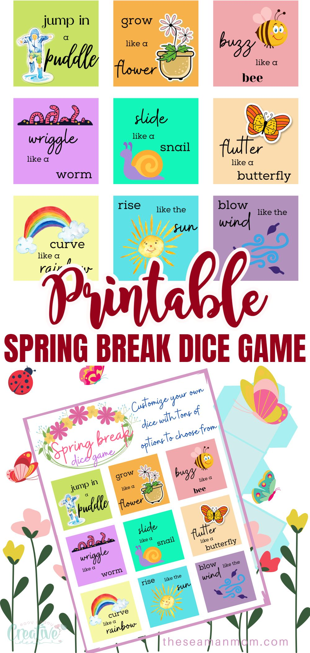 Spring break is the perfect time to relax and enjoy some quality time with your family. With this easy printable spring break dice game, you can get your kids up and moving while also having tons of fun. via @petroneagu