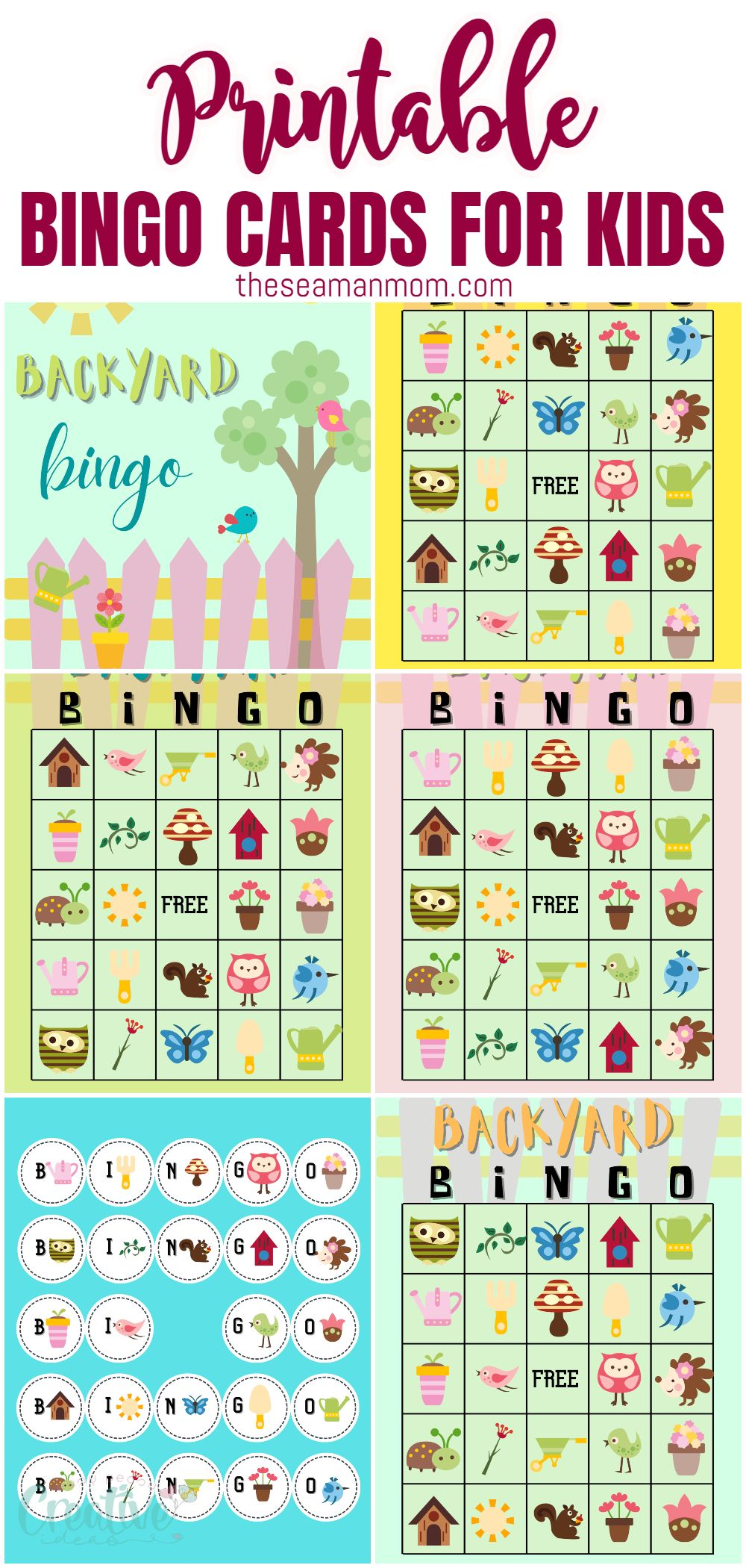 With these cute backyard themed printable bingo cards, your kids can have a blast playing together while they're stuck inside. Great family activity that everyone will love playing! via @petroneagu