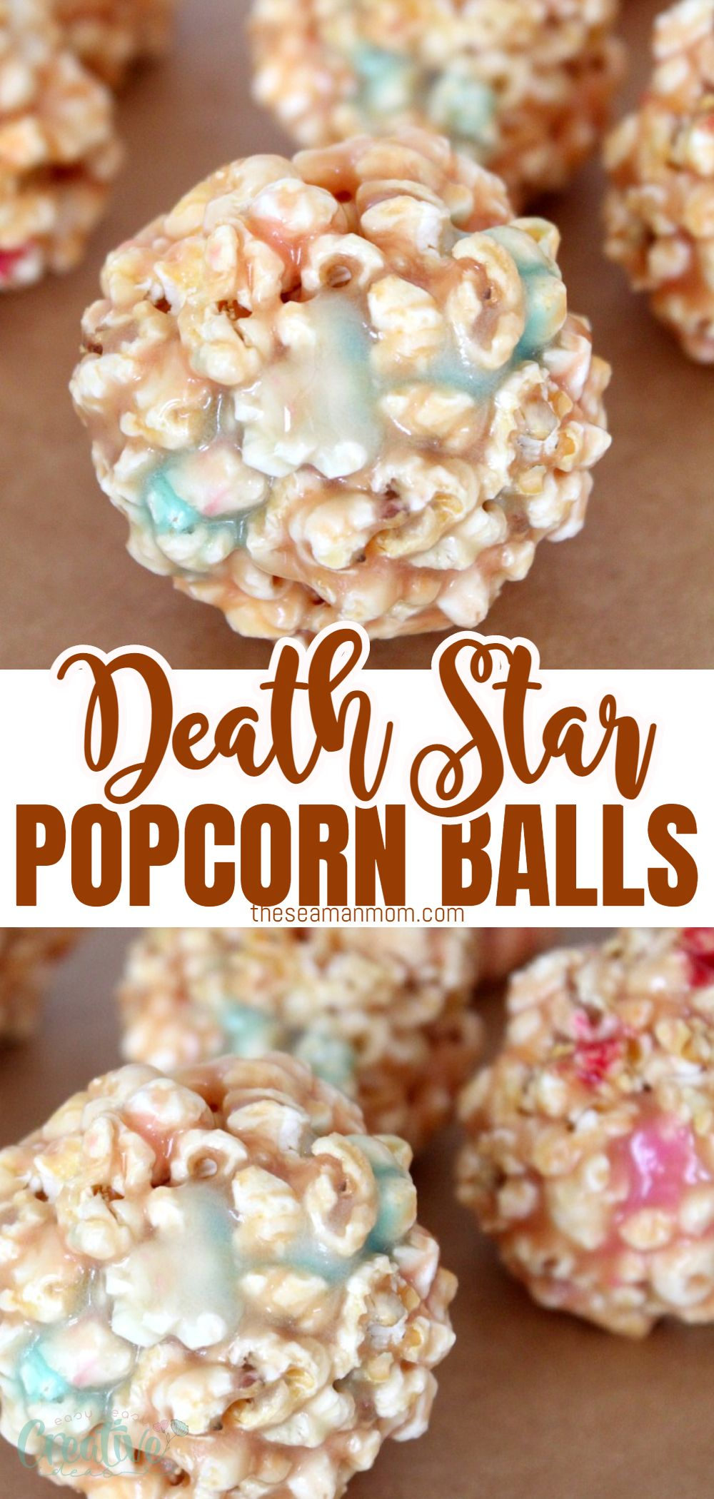 "These fun ""death Star"" marshmallow popcorn balls are a delightful twist to your regular popcorn, thanks to those colorful, eye catching marshmallows! Perfect pair for a Star Wars movie night with the kiddos or just because! via @petroneagu"