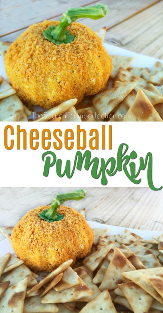 This cheeseball pumpkin would be the perfect thing to bring to a fall party. Pumpkin shaped cheeseball.