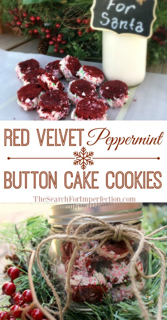 Easy Red Velvet Peppermint Button Cake Cookies make great neighbor gifts, or just a treat for Santa.