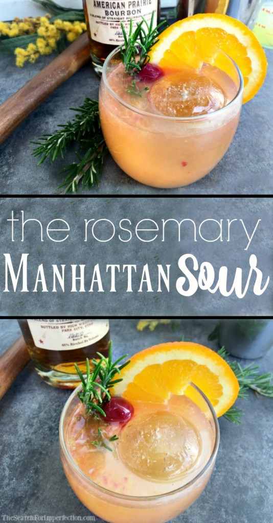 The Bourbon Rosemary Manhattan Sour is a yummy combination of two tasty classic cocktails