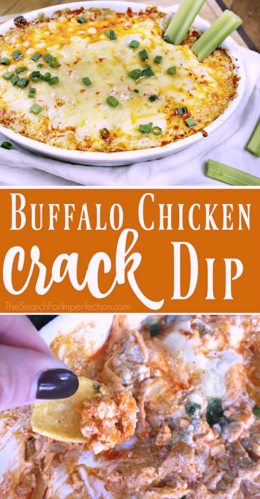 There is a reason they call this crack dip, OMG!!!! I'm bringing buffalo chicken dip to every party! #partyfood #crackdip #footballappetizers www.thesearchforimperfection.com