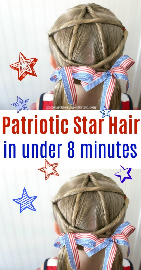 What a cute hairdo for the 4th of July. How to do patriotic star hair in under 8 minutes is so easy!