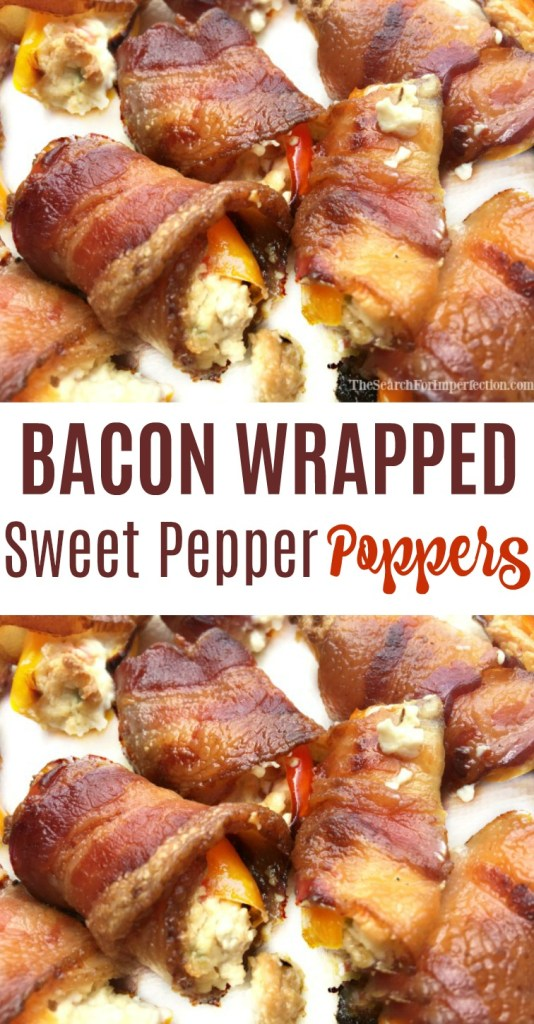 Less heat and more flavor in these bacon wrapped sweet pepper poppers!