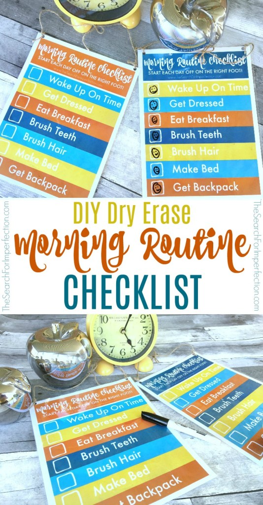 Try using this DIY Dry Erase Morning Routine Checklist to help streamline your mornings!
