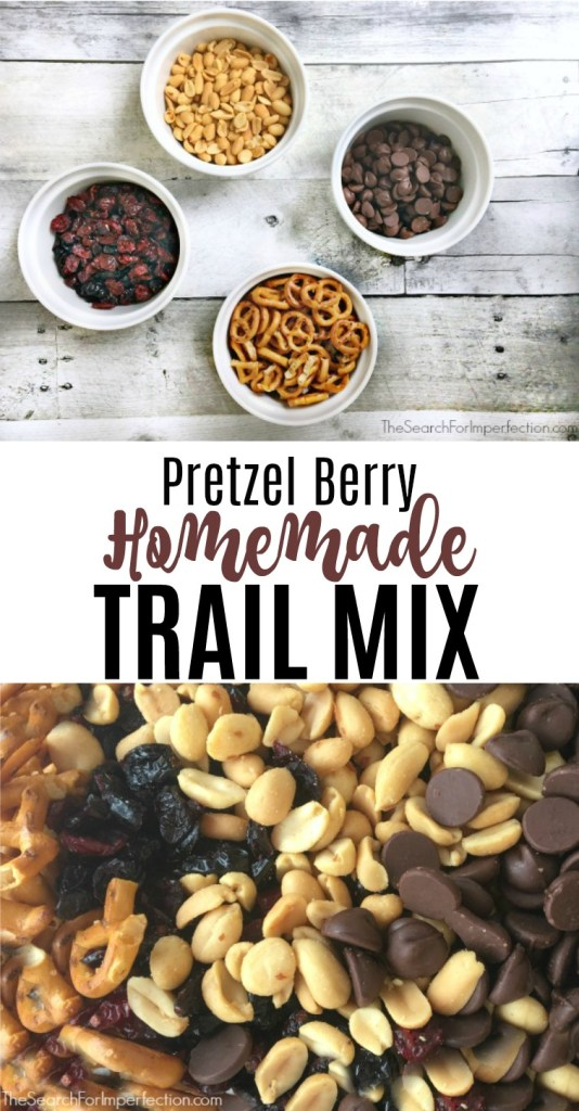 What a perfect lunch, after school, camping, or hiking snack this pretzel berry homemade trail mix would be! #homemadetrailmix #diytrailmix #makeyourowntrailmix