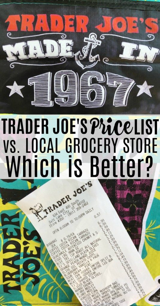 Ever wonder if Trader Joe's really is any cheaper? Here's a Trader Joe's price list side by side with a local grocery store.