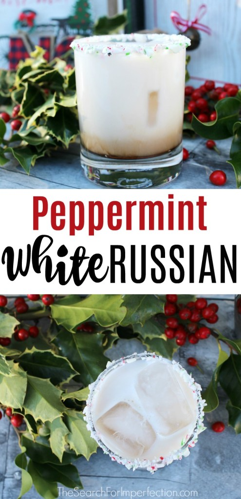 I can't wait to serve this peppermint White Russian this holiday! #holidaycocktail #peppermintwhiterussian