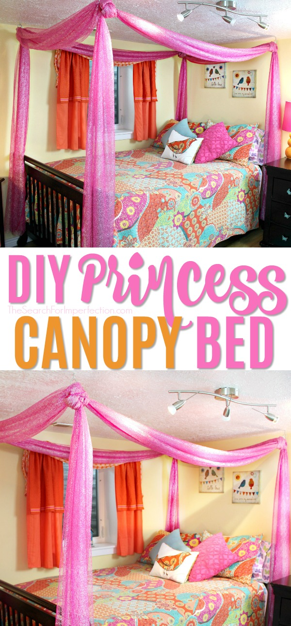 How cute is this sparkly pink DIY princess canopy bed? It's super easy to do! #diycanopybed #princessbed #canopybed#littlegirlsroom #thesearchforimperfection