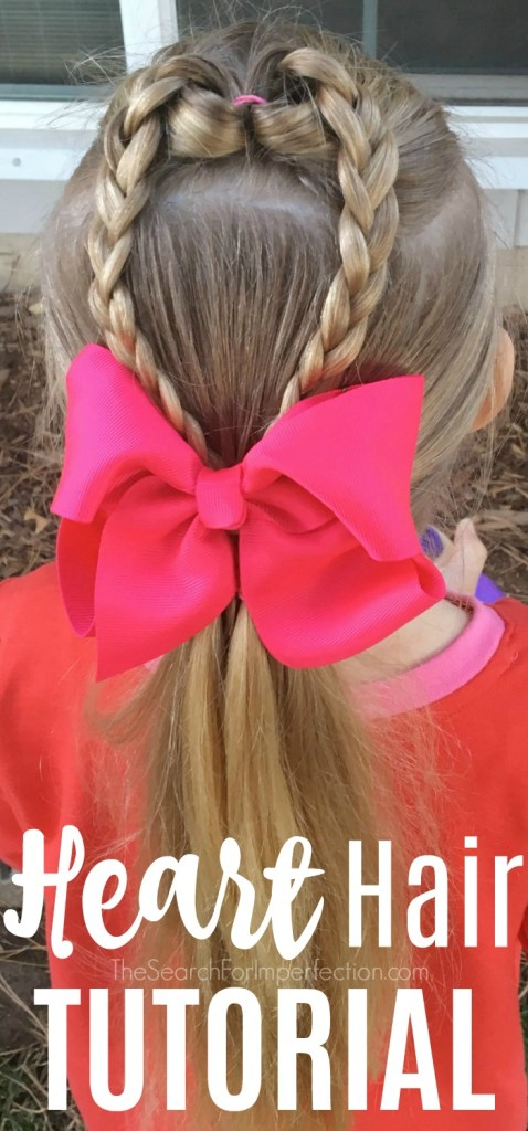 Love this heart hair. What a cute girls hairstyle for Valentine's Day. #valentinehairstyle #girlshairstyle #hearthair #hairtutorial www.thesearchforimperfection.com