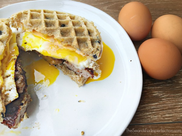 Sausage Egg and Cheese Waffle Breakfast Sandwich