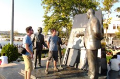 Mike and Dave observe a statue of Ataturk revealing the tenets of the new alphabet to the nation. A controversial move but one that seems to have endured.