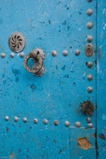 Close-up of door ornamentation.