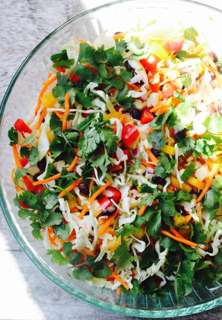 Vegetarian Taco Slaw with Creamy Cilantro Lime Dressing