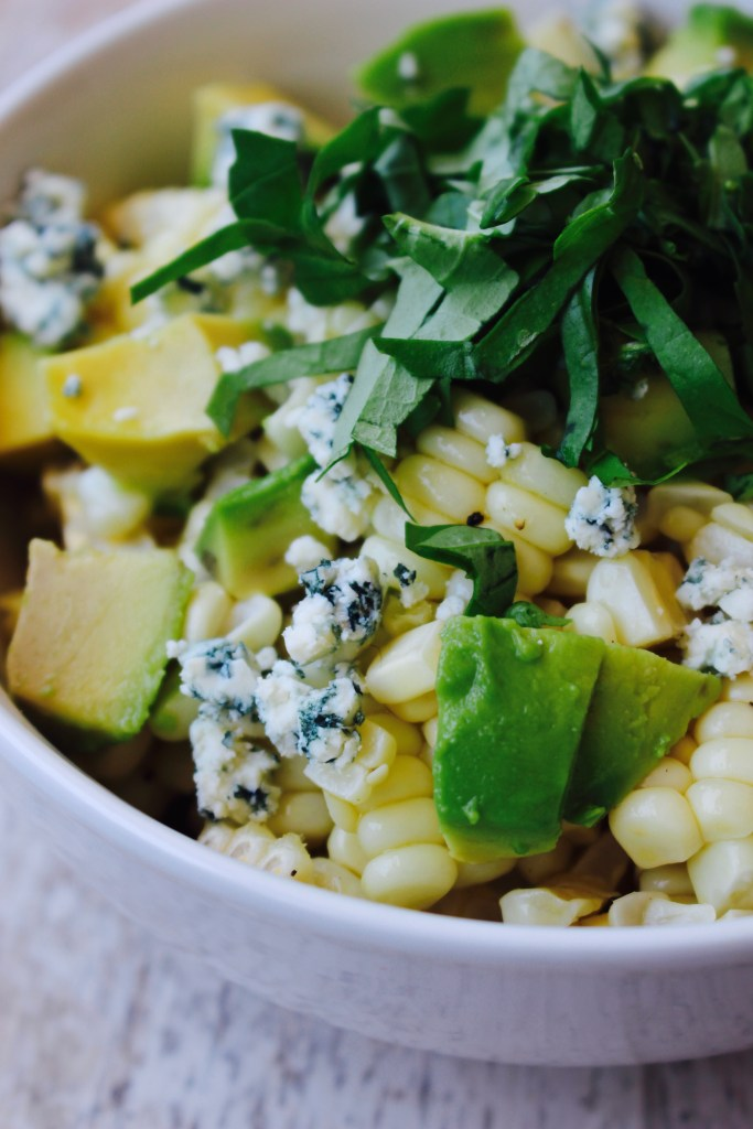 Corn Salad with Avocado, Blue Cheese and Basil