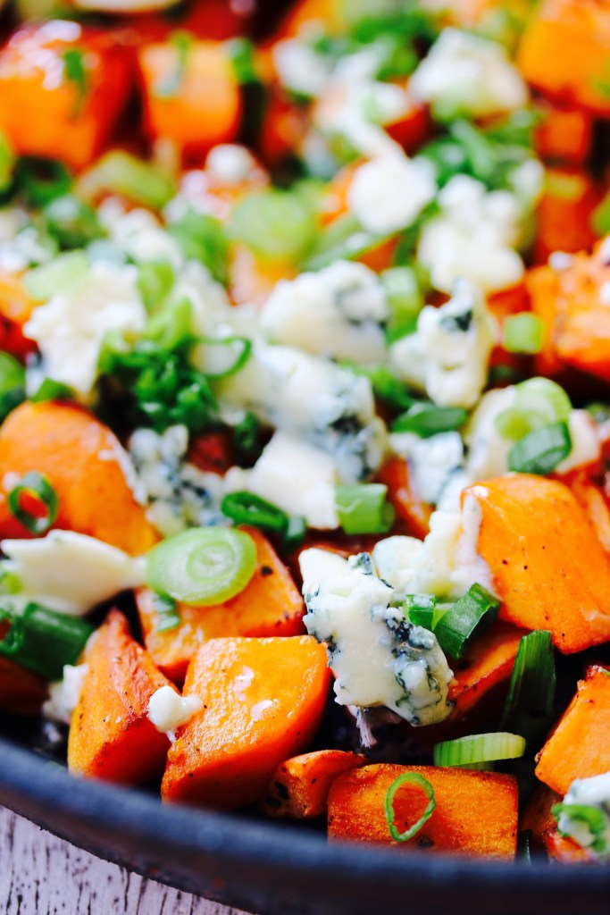Sweet and Spicy Roasted Sweet Potatoes with Blue Cheese and Green Onions