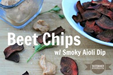 Beet Chips with Smoky Aioli Dip