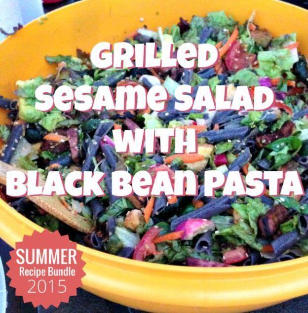 Grilled Sesame Salad with Black Bean Pasta2
