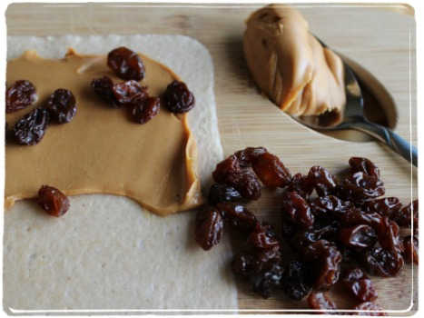 coconut wrap peanut butter raisins snack
