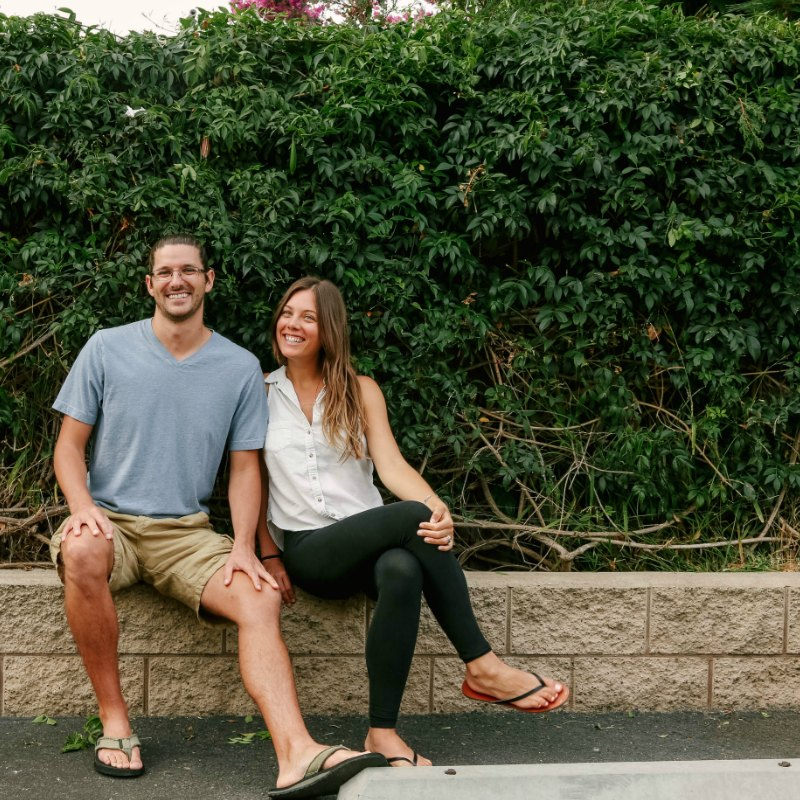 Peter and sarah sitting plant based couple