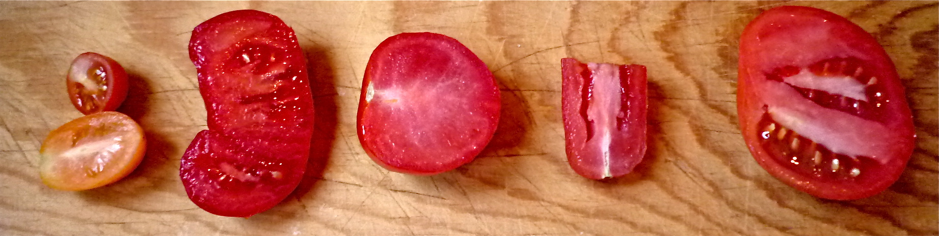 From left: coloured heirloom tomatoes, cluster tomato, Campari cocktail tomato, plum tomato, field tomato