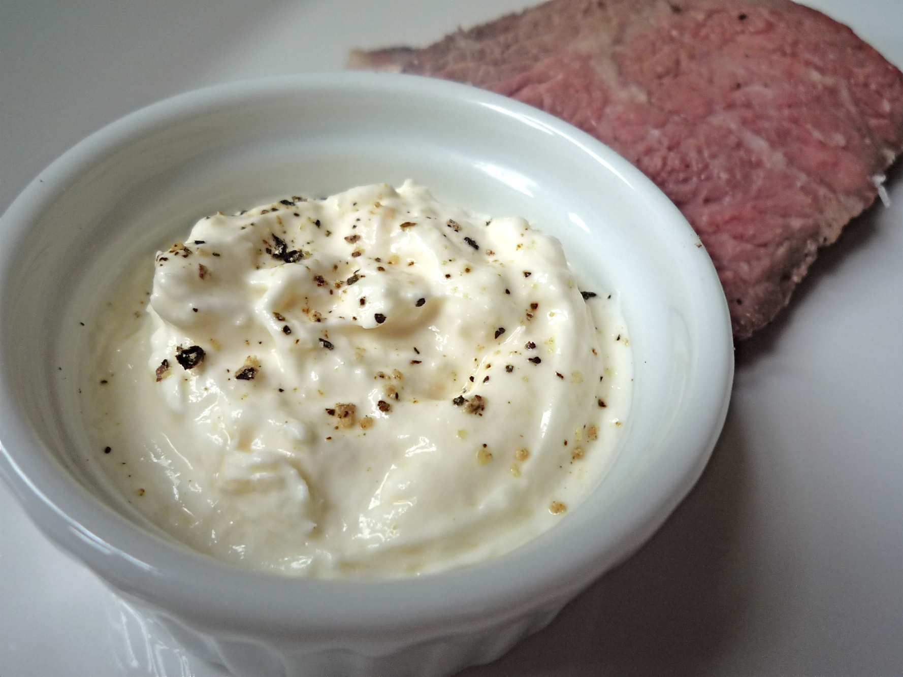Horseradish Cream with medium-rare roast beef