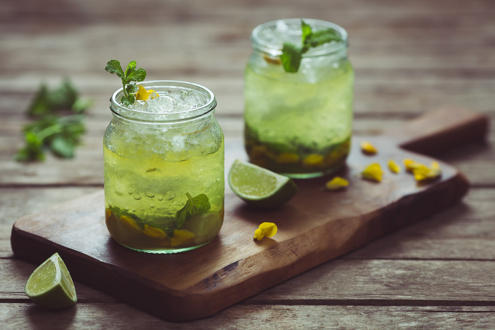 Gorse Flower and Raw Honey Mojito -- Enjoy cold | https://theseasonaltable.co.uk/drinks/gorse-flower-and-raw-honey-mojito/