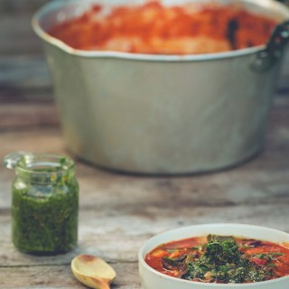 Garden Soup and Carrot Leaf Pesto