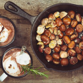 Salted Chestnuts, Rosemary Marshmallows and Hot Chocolate