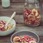 Spiced Christmas Porridge with Cherries and Apple Crisps -- Seasonal Food UK / Seasonal Recipes UK | https://theseasonaltable.co.uk/brunch/spiced-christmas-porridge-cherries-apple-crisps