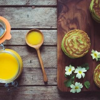 Coriander Pancakes with Lemon Curd and Primroses