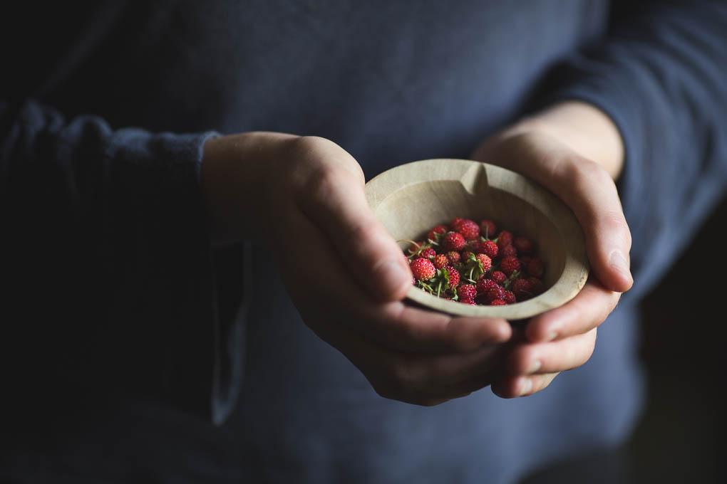 Milk Jelly with Strawberries, Elderflower, and Cobnut Brittle -- Seasonal food -- Alpine Strawberries | https://theseasonaltable.co.uk/sweet/milk-jelly-with-strawberries-elderflower-and-cobnut-brittle