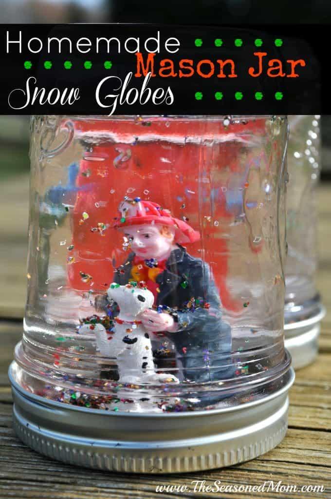 Homemade Mason Jar Snow Globes