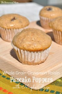 Whole Grain Cinnamon Raisin Pancake Poppers with Maple Glaze