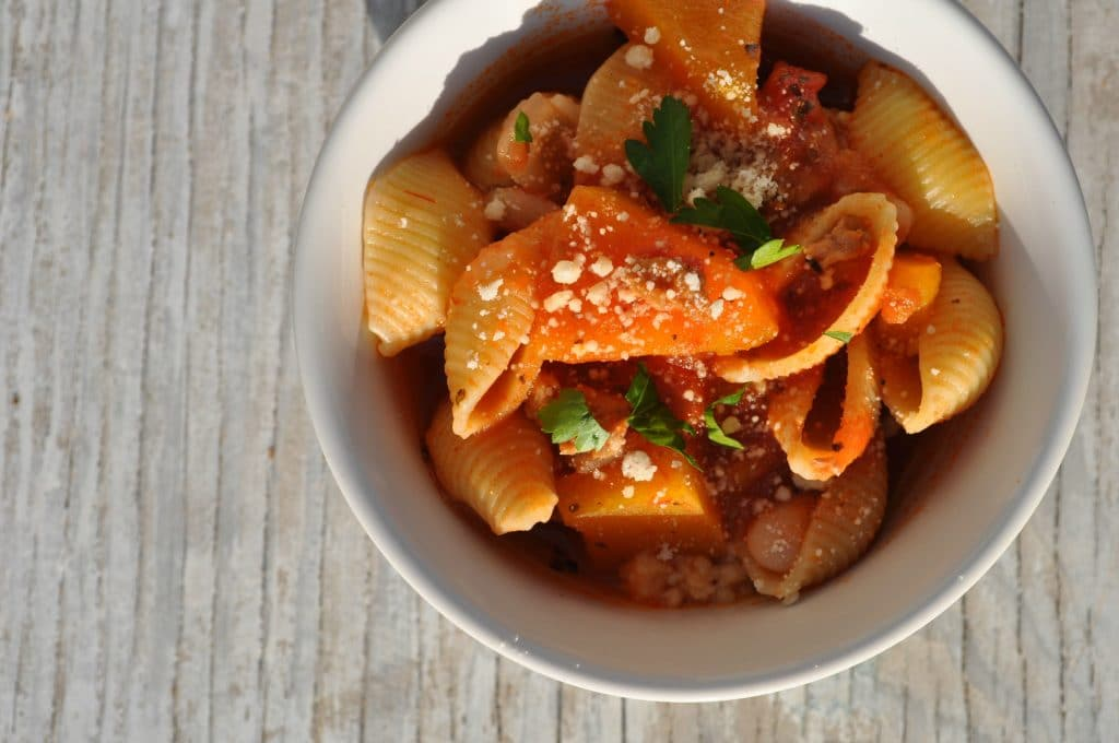 Slow Cooker Marinara Pasta Shells with Sausage and Butternut Squash 2