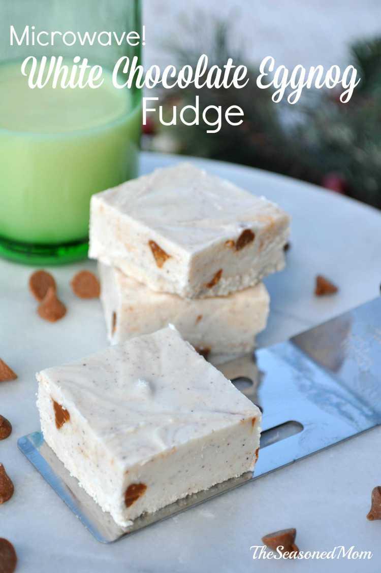 Microwave White Chocolate Eggnog Fudge