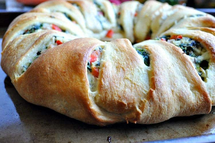 Lightened Up Spinach Artichoke and Chicken Crescent Ring 8