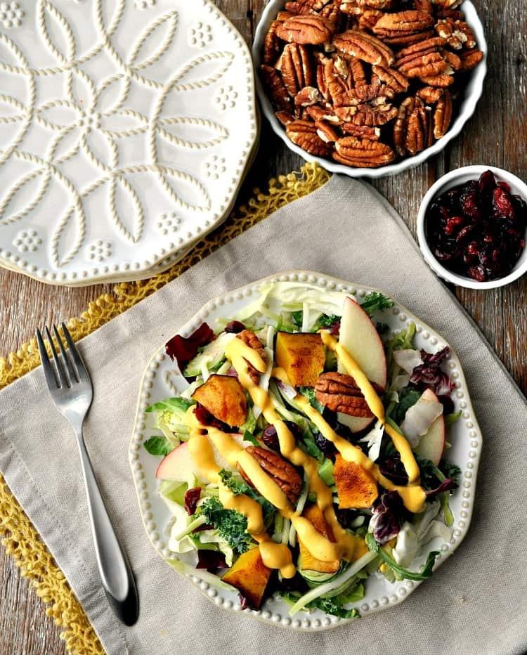 Fall Harvest Salad with Pumpkin Goddess Dressing 3
