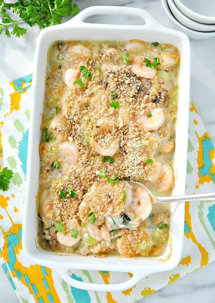 This easy Shrimp and Wild Rice Casserole is a healthy dinner recipe that the whole family will love!