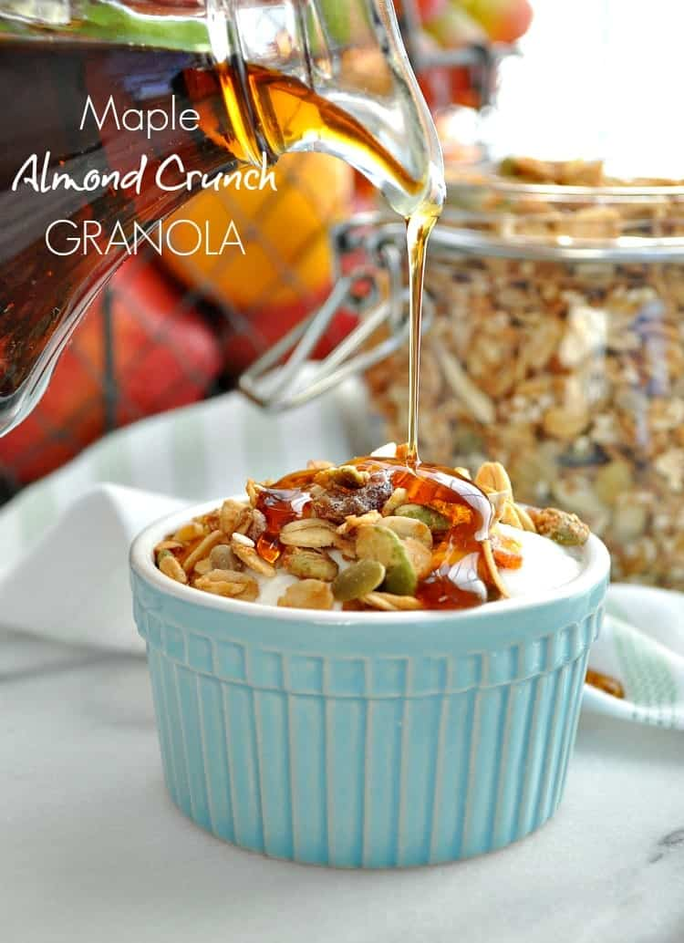 Prepare a healthy batch of Maple Almond Crunch Granola for quick clean eating breakfasts or snacks on the go!