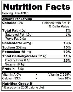 Orange Dream Protein Smoothie Nutrition Information