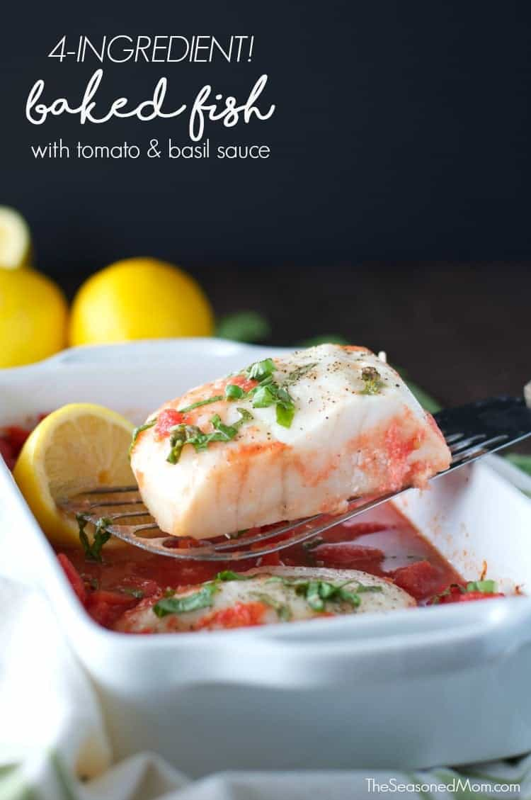 Easy Baked Fish with Tomato and Basil Sauce