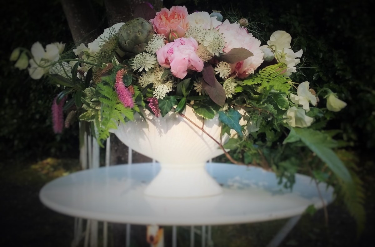 Urn flower arrangement civil ceremony Kilshane House