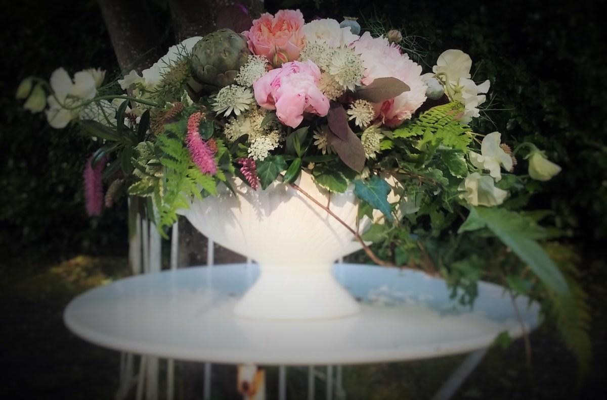 Urn flower arrangement civil ceremony Kilshane House